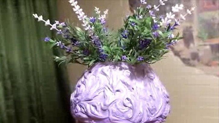 Красивая эксклюзивная ваза своими руками из шпатлёвки и бетона.