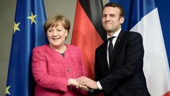Макрон в присутствии Меркель объяснил, почему она не бомбила Сирию.