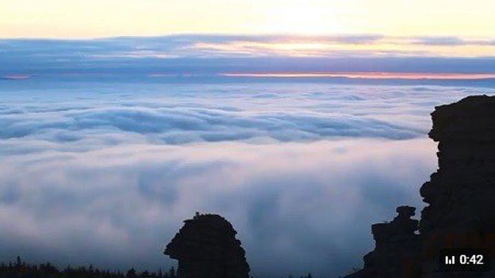 Помяненный камень в облаках. Пермский край