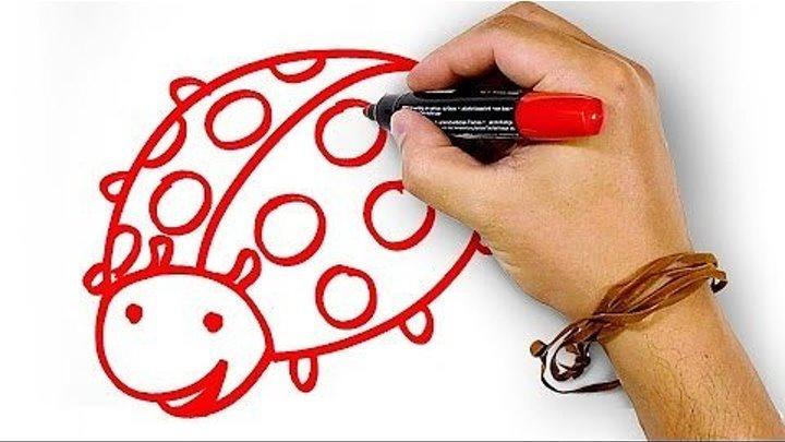 Красная Божья Коровка, рисуем маркером, РыбаКит