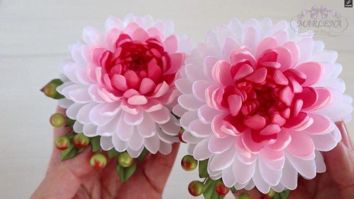 Хризантема из ленты. Канзаши