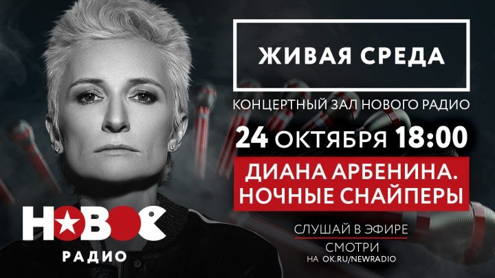 """Новое Радио. """"Живая Среда"""": Диана Арбенина. Ночные Снайперы"""