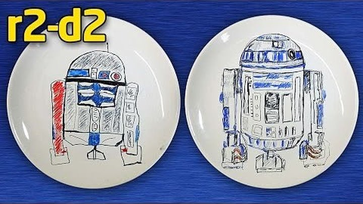Как нарисовать R2D2. Star Wars на тарелке.
