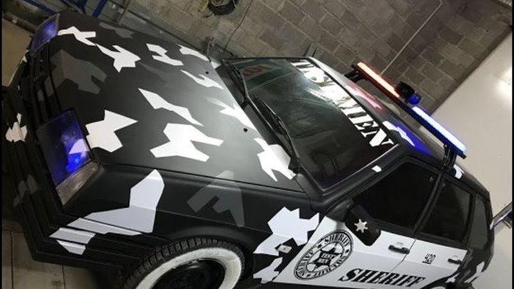 Супер Ваз 2109 за 20000 рублей-делаем тачку SHERIFF, покраска камуфляж, тюнинг, стробоскопы, шериф.