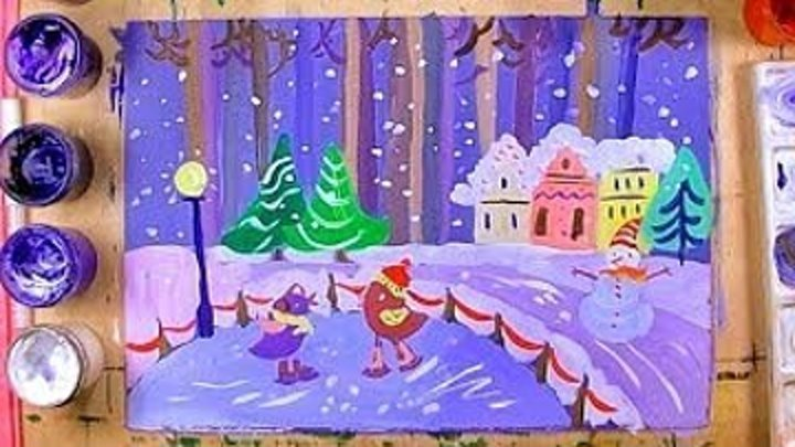 Зимний лес. Видеоурок рисования для детей от 5 лет
