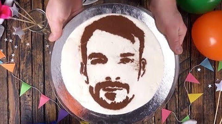 Для хозяюшек! Как нарисовать портрет именниника на торте!