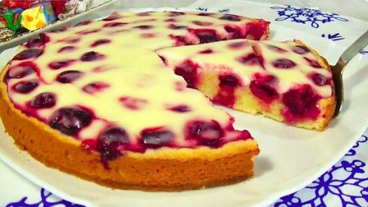 Быстрый вишневый пирог в сметанной заливке! Нежнее я не пробовала!