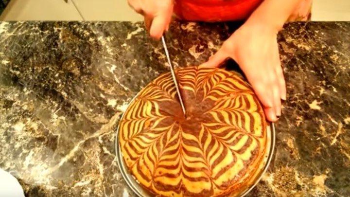 Пирог Зебра на сметане! Супервкусняшка!!!