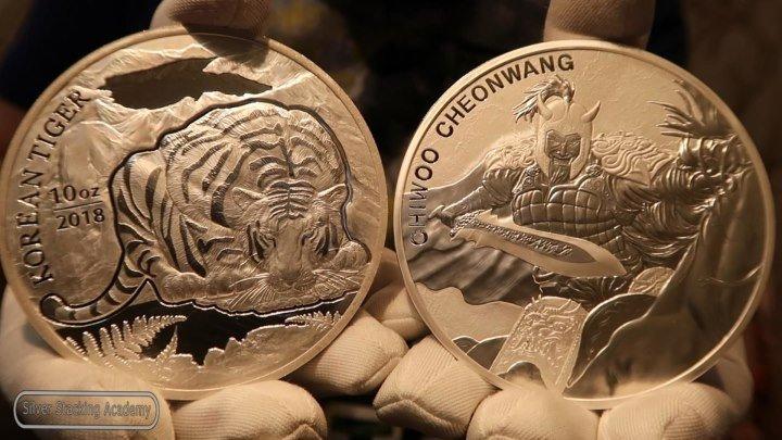 КОРЕЯ ПРЁТ! 10 УНЦОВЫЕ СЕРЕБРЯНЫЕ МОНЕТЫ ТИГР КОРЕИ и ЧИ ВУ 10 oz Chiwoo 10 oz silver Korean Tiger
