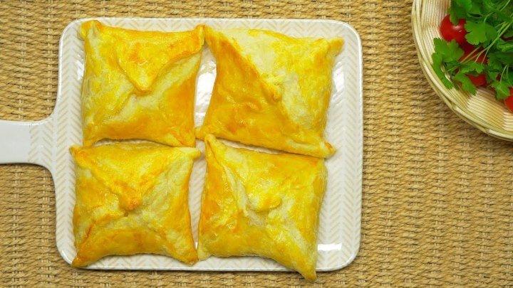 Вкусные хачапури из слоеного теста за 30 минут. Грузинская кухня. Рецепт от