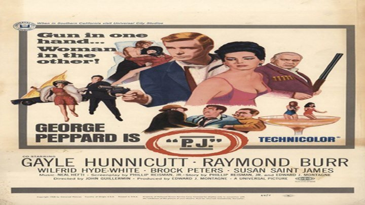 """George Peppard is """"P.J."""" with Raymond Burr and Gayle Hunnicutt!"""