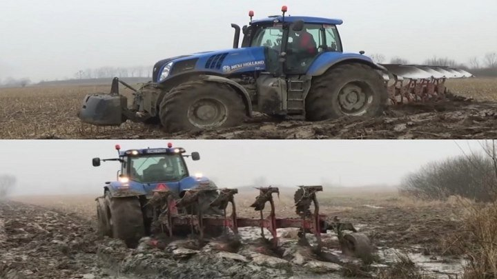 ЭКСТРЕМАЛЬНАЯ ВСПАШКА ЗЕМЛИ ТРАКТОРОМ New Holland T8.330