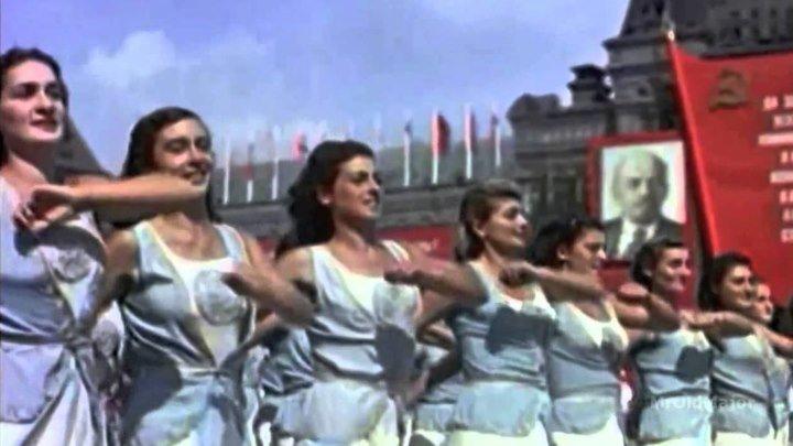 1 МАЯ. Парад с участием Иосифа Сталина. Москва Майская. Цветное видео.