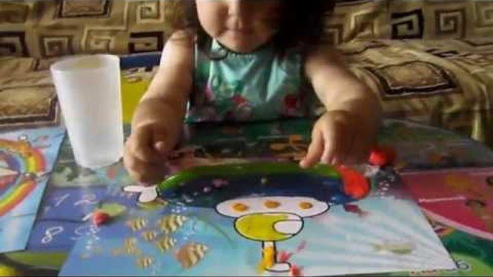 Раскрашиваем картину пластилином   Развивающие занятия для детей 2-3 лет   Ребенок 2 года развитие