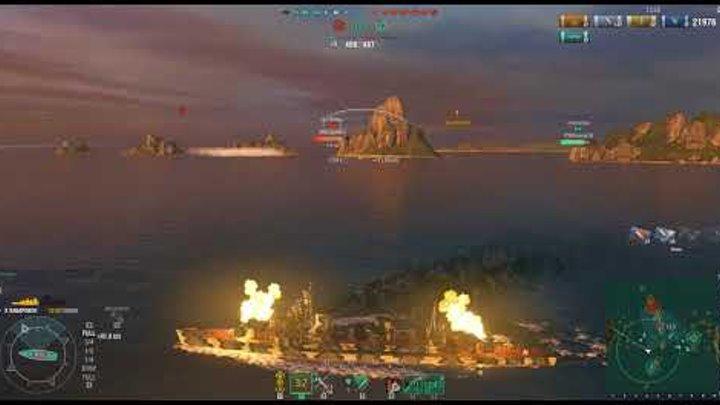 World Of Warships один из клановых боев в серии 9-ти побед подряд до лиги Бури