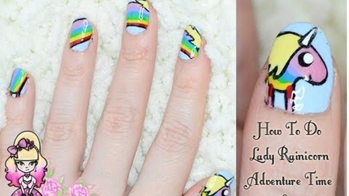 How To Do Lady Rainicorn Nail Art - Adventure Time Tutorial - Violet LeBeaux