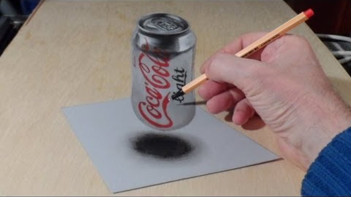 Anamorphic Illusion, Drawing 3D Levitating Coca Cola Can, Time Lapse