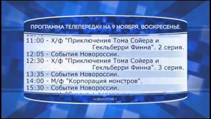 """Программа телепередач канала """"Новороссия ТВ"""" на 9.11.2014"""