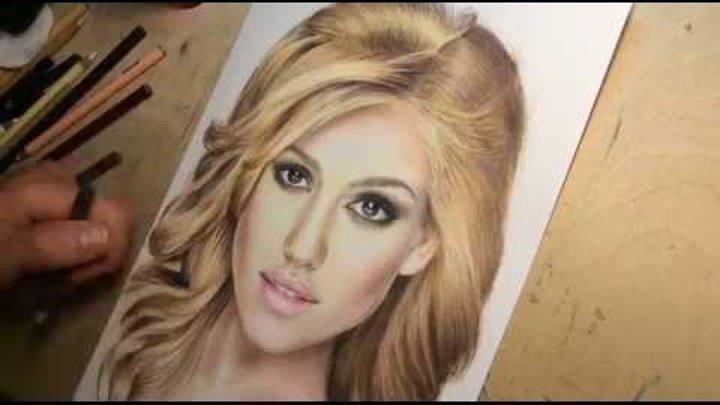 Drawing Jessica Alba. Time-lapse video (Портрет Джессики Альбы цветными карандашами)