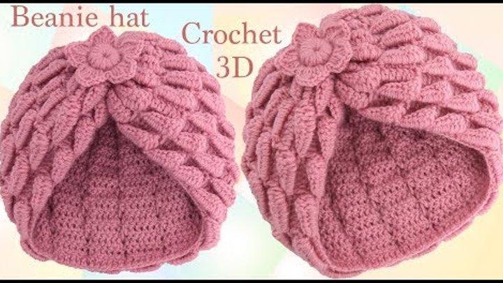 Gorro a crochet estrella con trenzas de hojas y flor 3D paso a paso tejido tallermanualperu