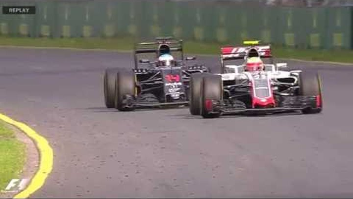 Формула 1 2016 Гран при Австралии Авария Фернандо Алонсо и Эстебан Гутьеррес