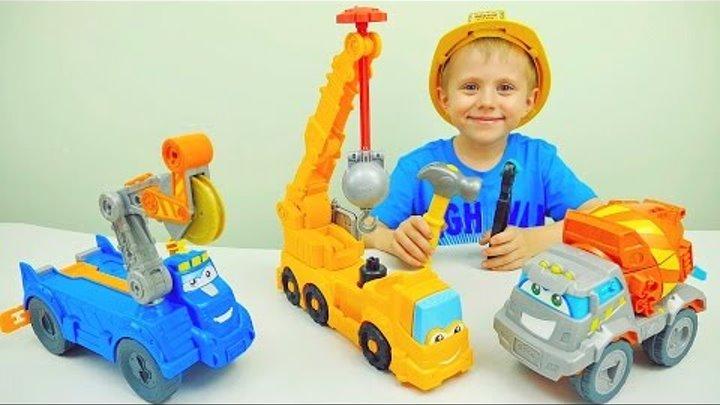 Машинки Плей До и Даник. Бетономешалка Автокран и Лесовоз. Видео для детей с пластилином Play Doh