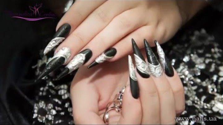 """Дизайн ногтей """"Черный кардинал"""" (эффект хром-лак, объемный дизайн)"""