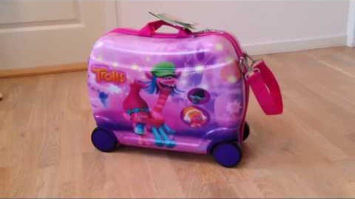 Trolls kuffert til børn, med 4 hjul