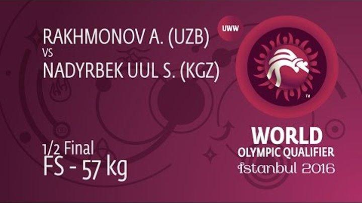 1/2 FS - 57 kg: A. RAKHMONOV (UZB) df. S. NADYRBEK UUL (KGZ), 2-1