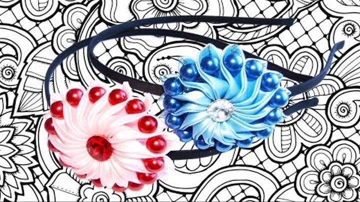 DIY Ободок канзаши с цветком из ленты МК Легко и просто