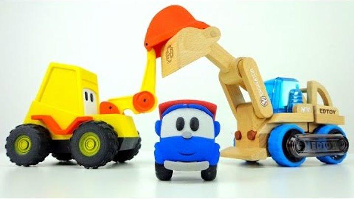 Маша, Лёва, Грузик и Мася собирают машинку трансформер. Игры для детей.