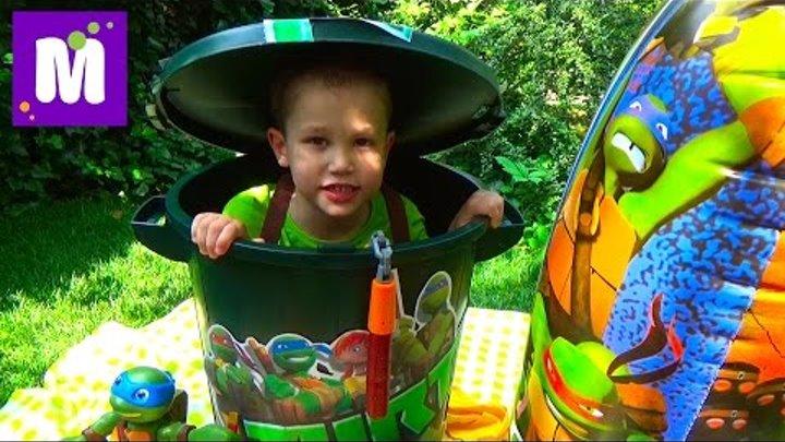 Черепашки Ниндзя полный контейнер игрушек открываем TMNT toys unboxing