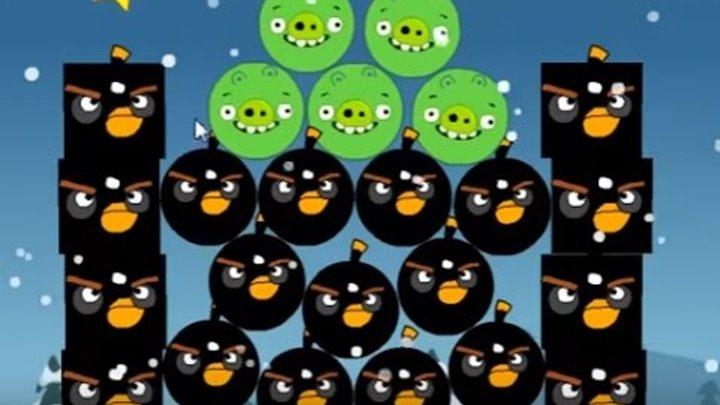 Мультик ИГРА для детей про энгри бердз уровень 14 Angry birds Злые птички энгри бердз против свинок