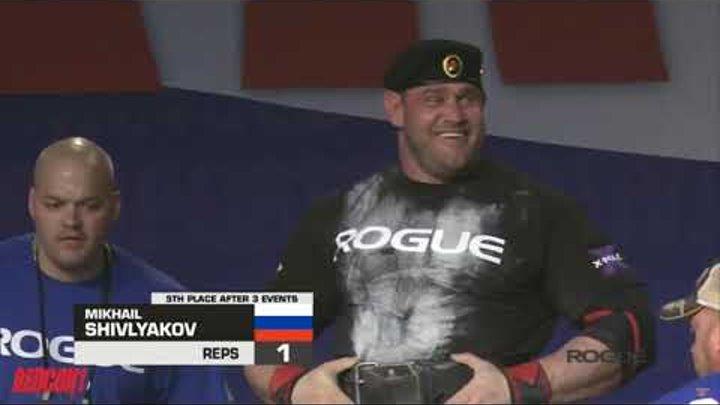 Михаил Шивляков жмёт бревно весом 195кг на Arnold Classic Strongman 2019
