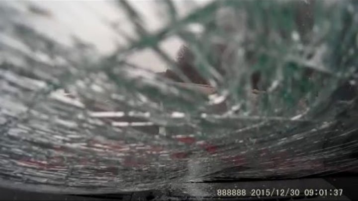 Ice Sheet Destroys Windshield Saab 9-5