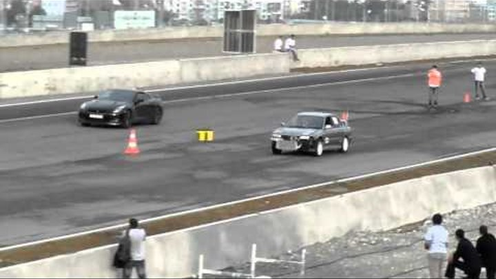 DRAG RACING IN RUSTAVI TRACK MITSUBISHI EVO 2 VS NISSAN GTR R35