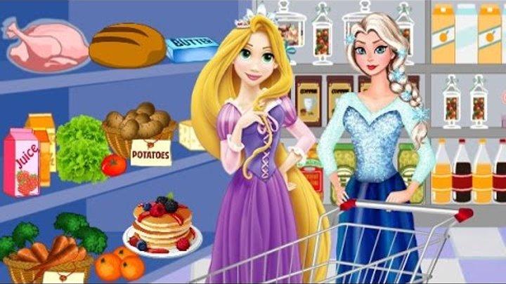 Дисней Принцесса Игры—Рапунцель Эльза в супермаркете—Мультик Онлайн Видео Игры Для Детей 2015