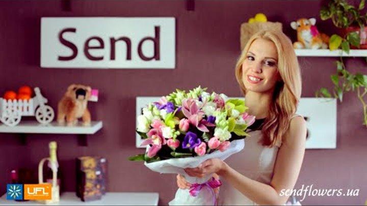 Букет Зеленый сад - орхидеи - букет для девушки - доставка цветов Киев sendflowers.ua