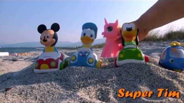 For kids. Для детей от года. Игрушки Микки маус машинки и самолеты на море. Toys Mickey mouse cars