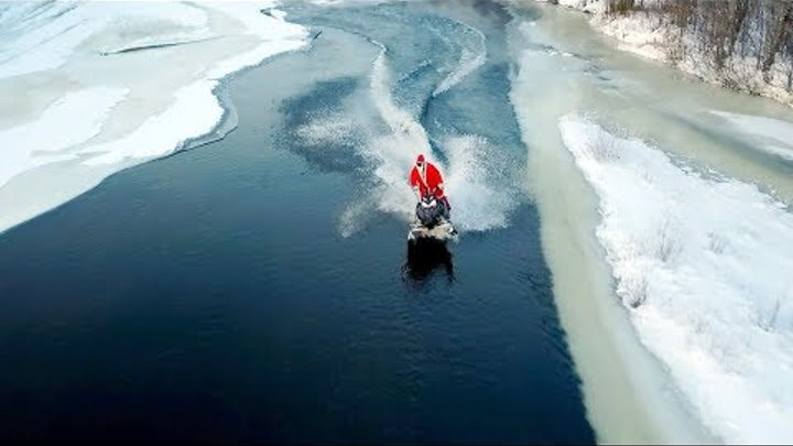 Santa Claus's crazy sled ride on Christmas