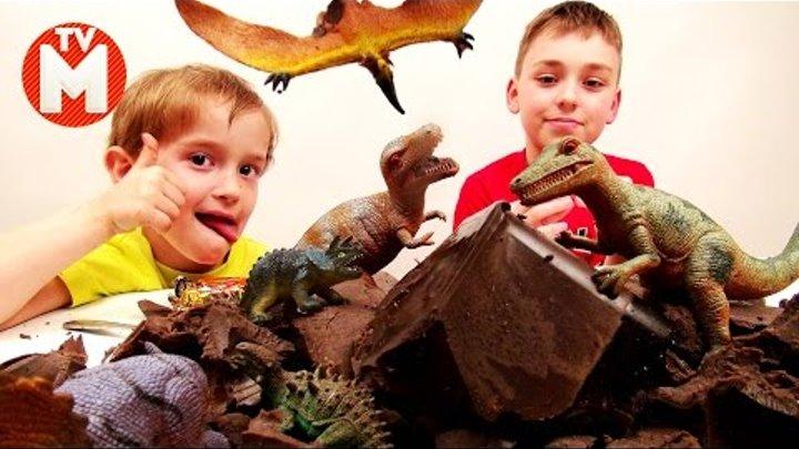 Игрушки динозавры ЧЕЛЛЕНДЖ РАСКОПКИ ДИНОЗАВРОВ В ЖЕЛЕ Видео про динозавров