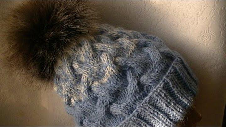 вязание шапки косами и градиентом