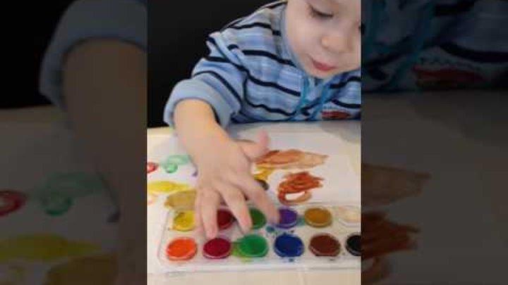 Учим цвета на русском и английском, рисуем пальчиком ,learn the colors, paint with finger