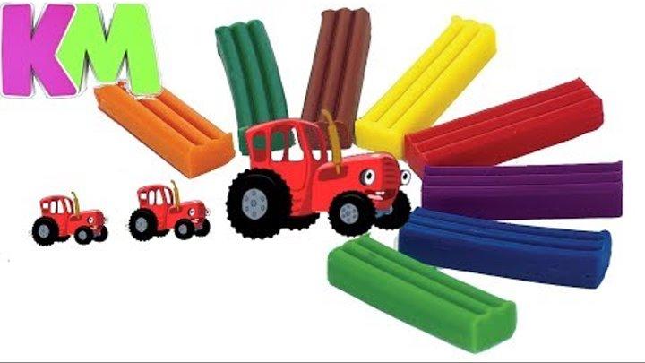 Лепим Синий Трактор из пластилина. Красный Трактор Гоша. Tractor in Plasticine.