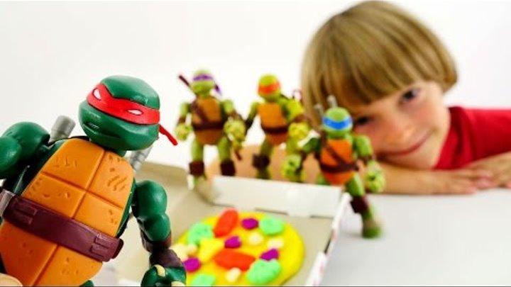 ПИЦЦА для Микеланджело! Черепашки Ниндзя игры. Пластилин Плей До. Видео с игрушками Ninja Turtles
