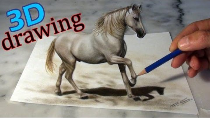 Speed Drawing a Horse in 3D ! Anamorphical illusion