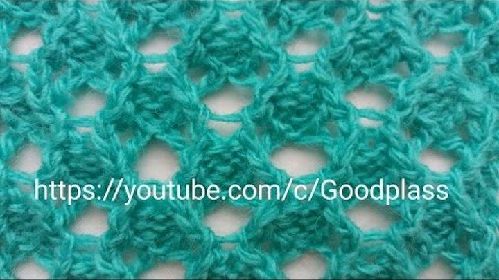 ажурный узор с дырками вязание спицами