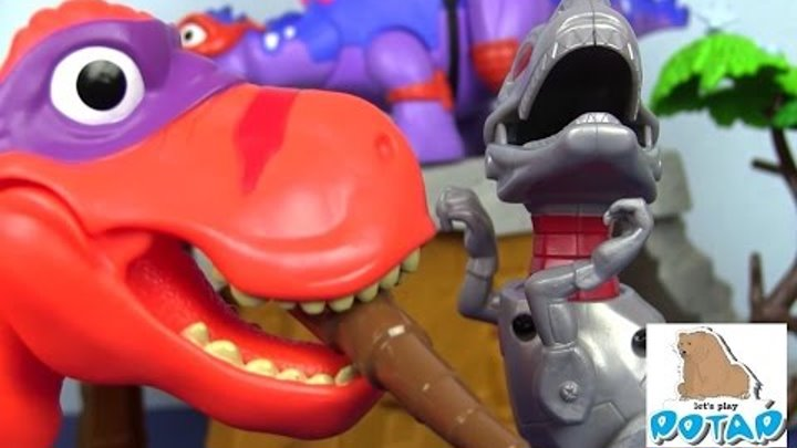 Мультик про Динозавров TMNT Черепашки Ниндзя. БИТВА ДИНОЗАВРОВ! Robo Raptor with Triceraton Мультики