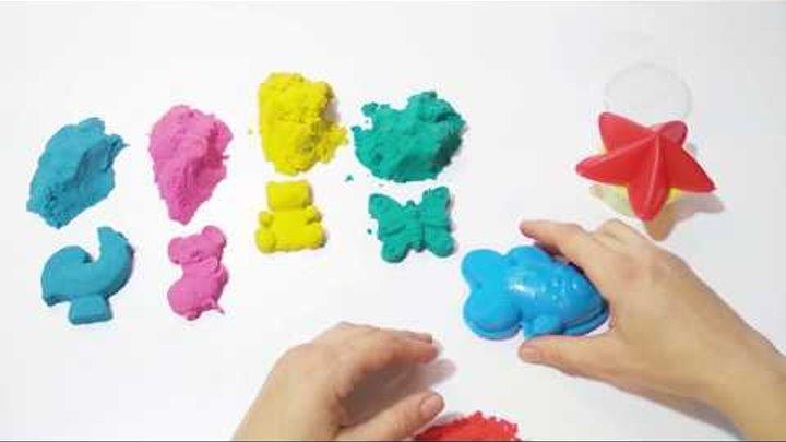 Видео для детей. Лепим из кинетического песка. Игры. Формы. Цвета. Песок и лизун