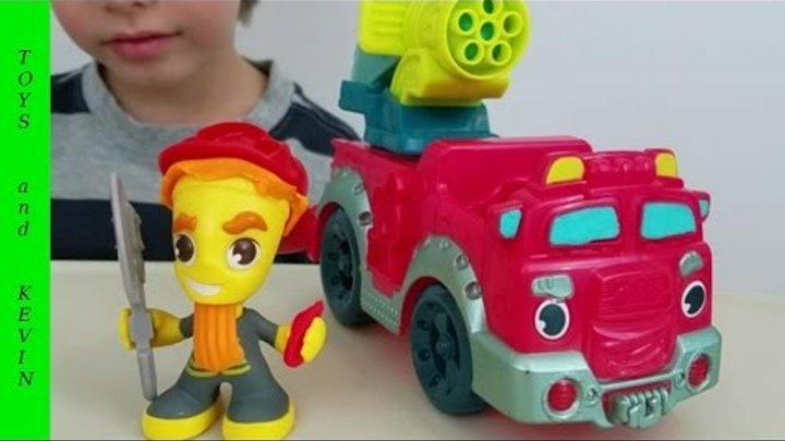 Плей до ПОЖАРНАЯ МАШИНА Тушим пожар Машинки для детей Детские игры и видео для детей